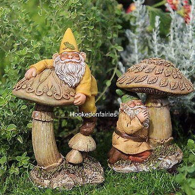 Miniature Gnome Eddie & Freddie 2 Asst Dwarf Gnome Fairy Garden WS 254