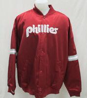 Philadelphia Phillies Men 2xl Mitchell & Ness Snap Satin Jacket Mlb A14