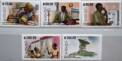 Treu Ghana 1990 1392-96 1219-23 Introduction Direct Dialing Service Idd Telephone Mnh Top Wassermelonen Afrika
