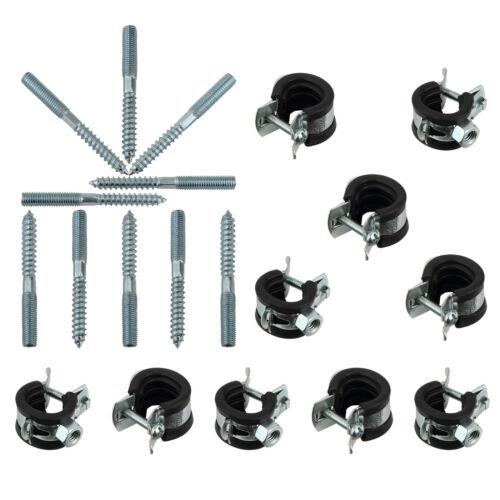 "10 Stück Rohrschellen Set 15-18 mm 3//8/"" mit Stockschrauben M8 x 50 TX 25"