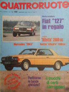 Details about Quattroruote 258 1977 tests Alfetta 2000 CC, Austin Allegro  1100 CC, Mercedes 280- show original title
