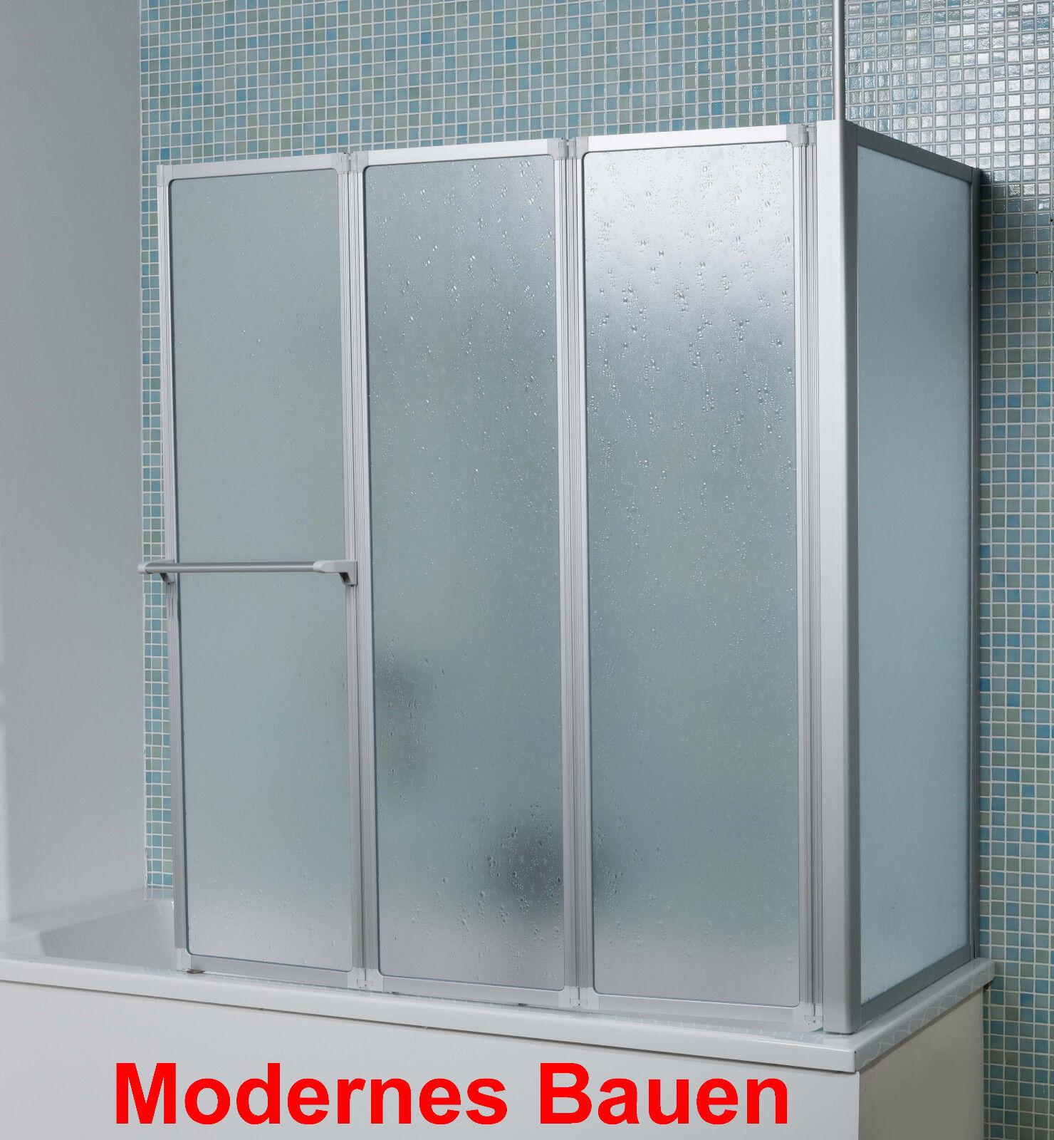 Breuer FARA Badewannenaufsatz Badewannenduschwand 3-teilig mit fester Seitenwand