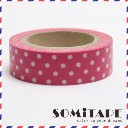 Craft Decorative Tape Bright Pink With White Polkadot Washi Tape