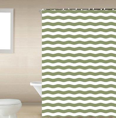 Striped Green /& White 13-Pc Bath Shower Curtain /& Rings Bathroom Accessory Set
