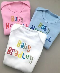 Baby boys PERSONALISED heart babygrow//vest ANY NAME SLOGAN great babyshower gift