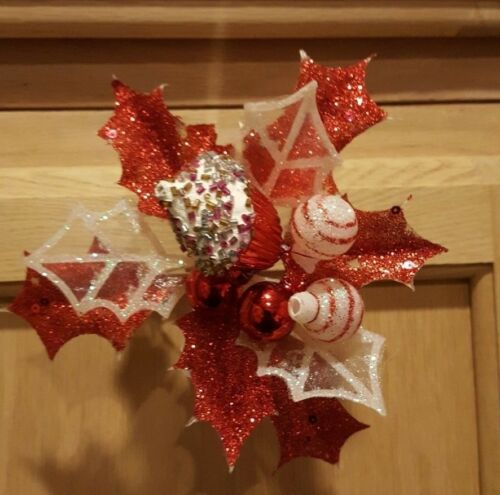 2pack Clipon RedWhite Glitter Fabric Leaves wPeppermint Candy Ornament