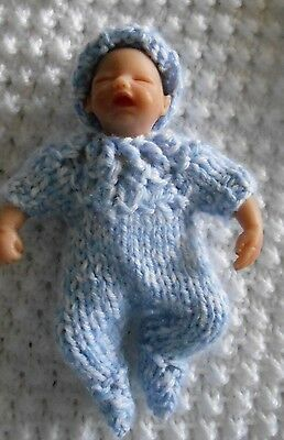 "Doll Clothes Footed Hand-knit Pastel Blue 2 pc Suit With Cap Fits 4.5"" Baby Boy"