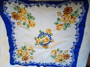 Blue-yellow-scarf-Ditsy-Vintage-1930s-1940s-crepe-de-chine