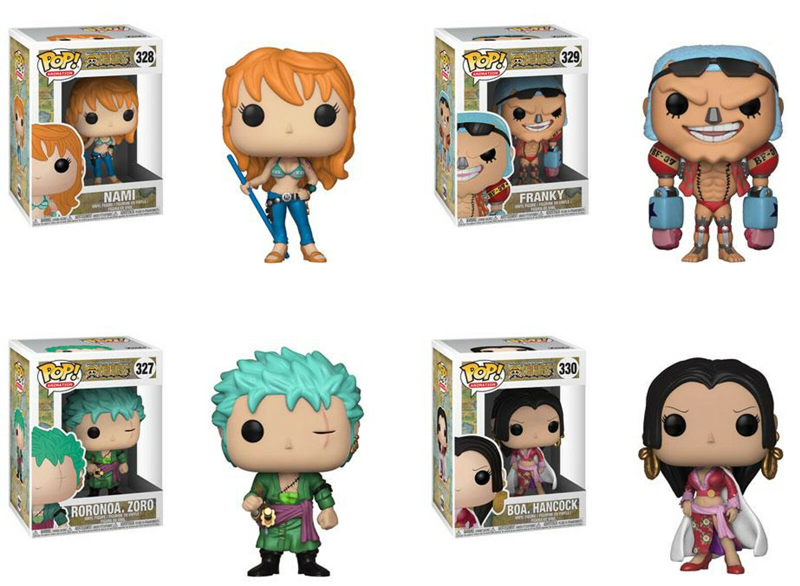 Funko POP  Animation  ONE PIECE SERIES 2 SET  Zoro, Boa, Nami & Frankie