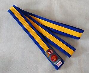 10 Stück Ju-Sports Budo-Gürtel blau/gelb/blau - Länge 280 cm