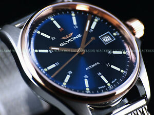 Pre-Invicta-NEW-Glycine-36mm-Combat-6-Automatic-Rose-PVD-Blue-Dial-SS-Watch-3916