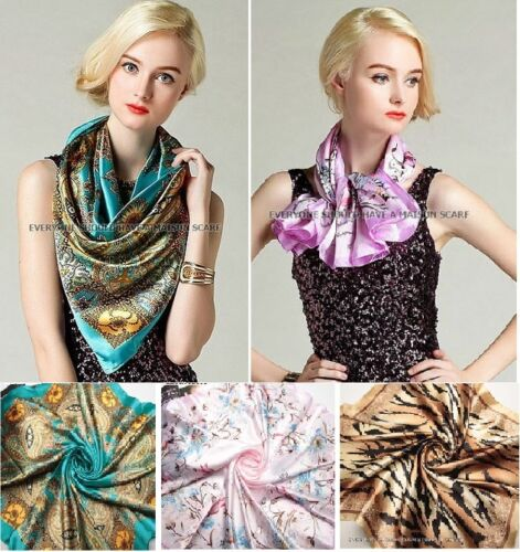 Schal Tuch Scarf Trendy Vintage casual 90 x 90 cm groß Seidenoptik glänzend