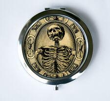Memento Mori Skeleton Compact Mirror Pocket Mirror psychobilly gothic punk death