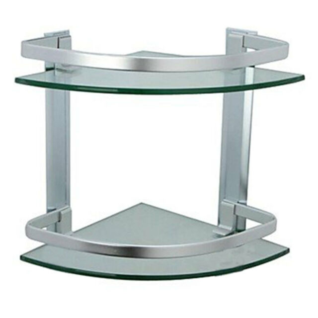 Bathroom Corner Shower 2 Tier Glass Shelf Caddy Organizer Aluminium