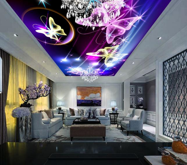 3D lila Butterfly Ceiling WallPaper Murals Wall Print Decal AJ WALLPAPER US