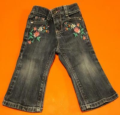 Flower Lovers Wide Leg Stretch Jeans By Oshkosh B'gosh: Size 12m Girls