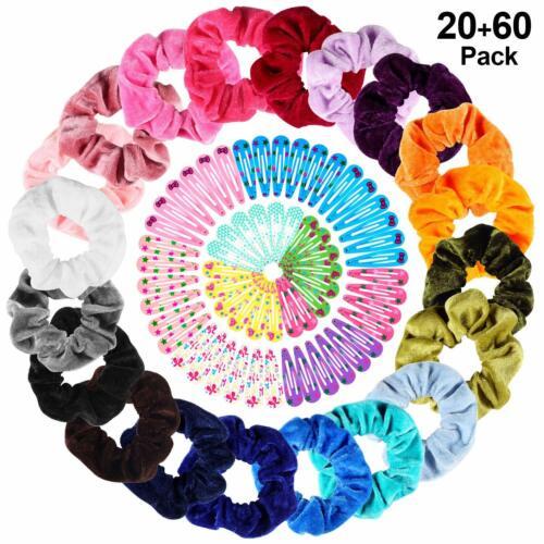 20 Pcs Colorful Velvet Hair Band Scrunchies Elastic Ties 60 Pcs Hair Clips Bonus