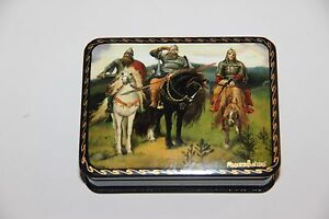 Russian beautiful Lacquer box three heroes