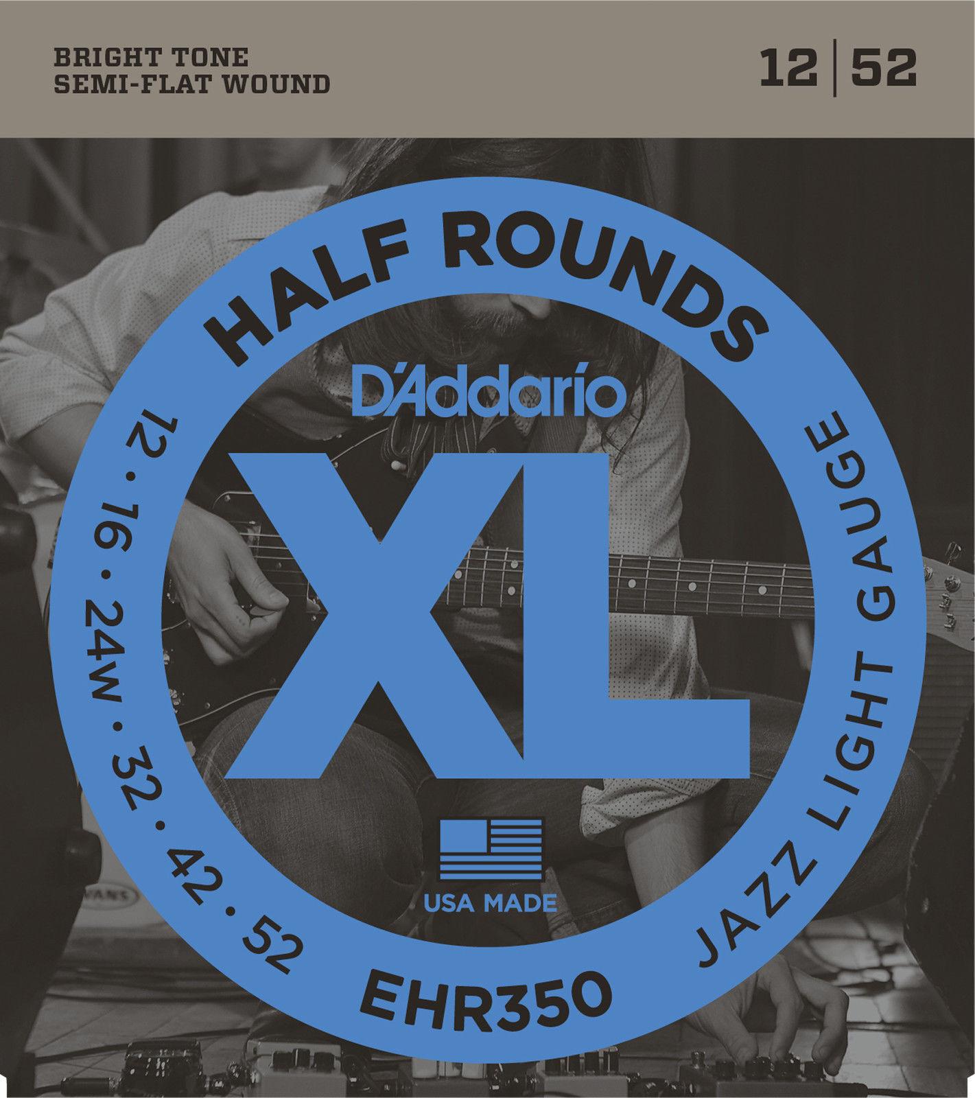 10 Sets D'Addario EHR350 Half Rounds JAZZ LIGHT Electric Guitar Strings 12-52
