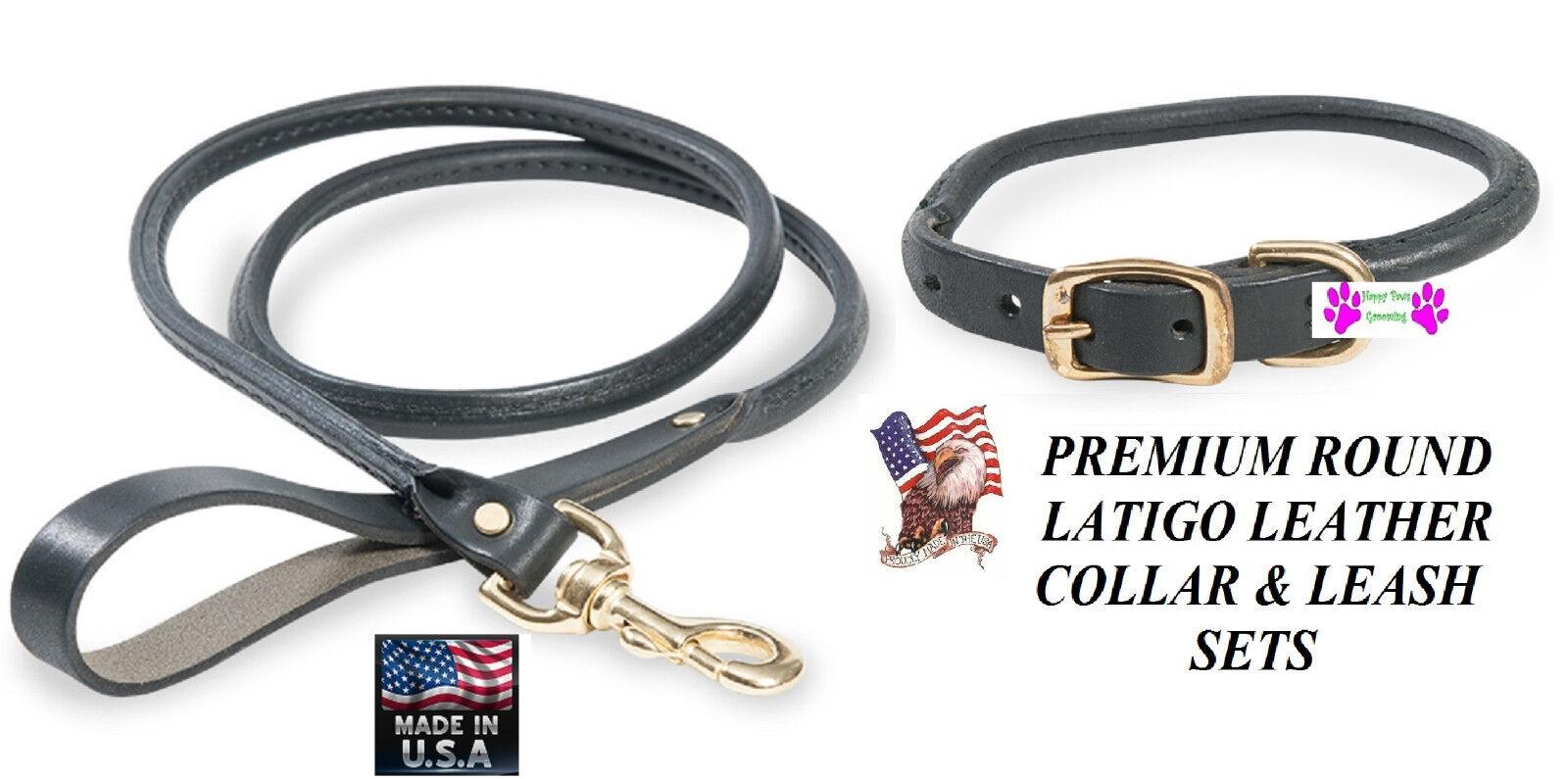 SET LATIGO LEATHER ROLLED ROUND Dog COLLAR&LEASHUSA MADEnero Brass Hardware