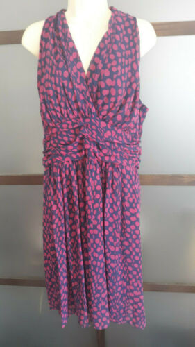 EVAN PICONE Dress Halter Blue Pink Polka Dots Slim