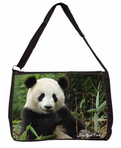 Panda /'Love You Dad/' Sentiment Large Black Laptop Shoulder Bag School//C DAD-1SB