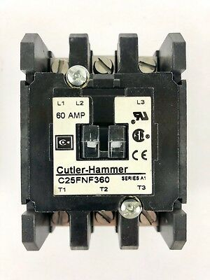 CUTLER HAMMER CONTACTOR C25FNF360 60A A AMP SER A1 120V COIL