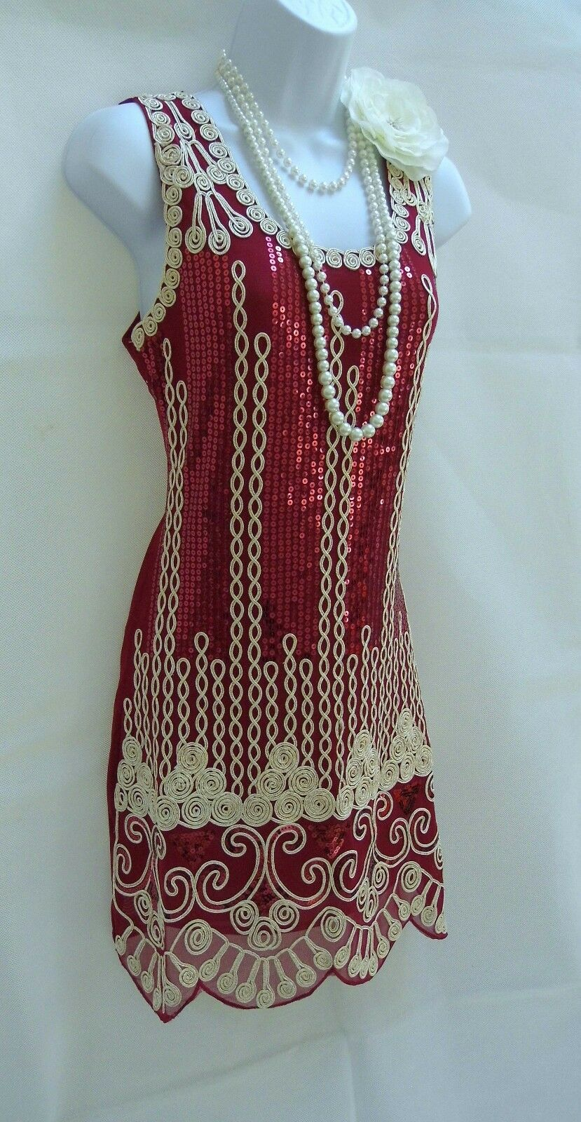 1920'S STYLE GATSBY RED VINTAGE LOOK CHARLESTON SEQUIN FLAPPER DRESS SIZE 10 12