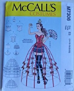 MCCALLS PATTERN 7306 CORSET HOOP SKIRT COSTUME MISSES SIZES 14 16 18 20 22 UNCUT