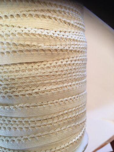 "Wholesale Roll 144 Yards Ivory Picot Edge Elastic 3//8"""