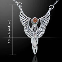 Egyptian Winged Isis Goddess .925 Sterling Silver Necklace By Peter Stone