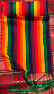 """Handmade Rainbow Stripe Sleeping Bag For 9"""" Doll/Bear/Beanie Baby"""