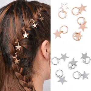 5Pcs Fashion Women/'s Cute Shiny Star Hair Rings Hair Clips for Braids Plaits
