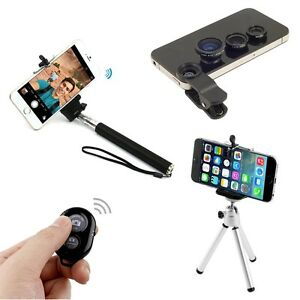 4 in1 bluetooth selfie stick monopod tripod camera lens for iphone 5s 6 p. Black Bedroom Furniture Sets. Home Design Ideas