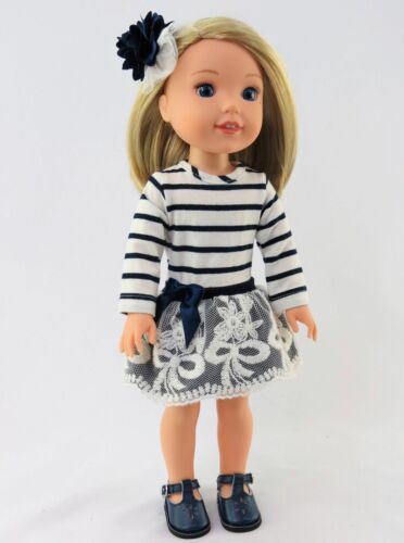 """Navy Stripe Lace Dress For 14.5/"""" Wellie Wishers American Girl Doll Clothes"""