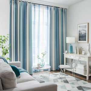 Blue Striped Sheer Bedroom Shade Curtains Blue Window Drape Voile 63 84 Tulle Ebay