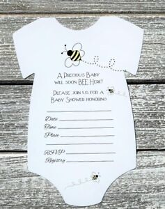 Image Is Loading 10 Ble Bee Themed Baby Shower Invitations With