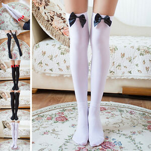Stretchy-Meias-Over-The-Knee-High-Socks-Stockings-Tights-With-Bows-Thigh-S-JH