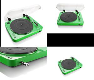 Lenco-L-85-Green-33-amp-45-RPM-Semi-Automatic-Belt-Drive-USB-Turntable-for-Vinyl
