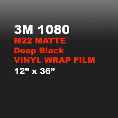 3M 1080 Matte Deep Black 1FT x 5FT Wrap Film M22 Car Vinyl Wrap Sticker Decal