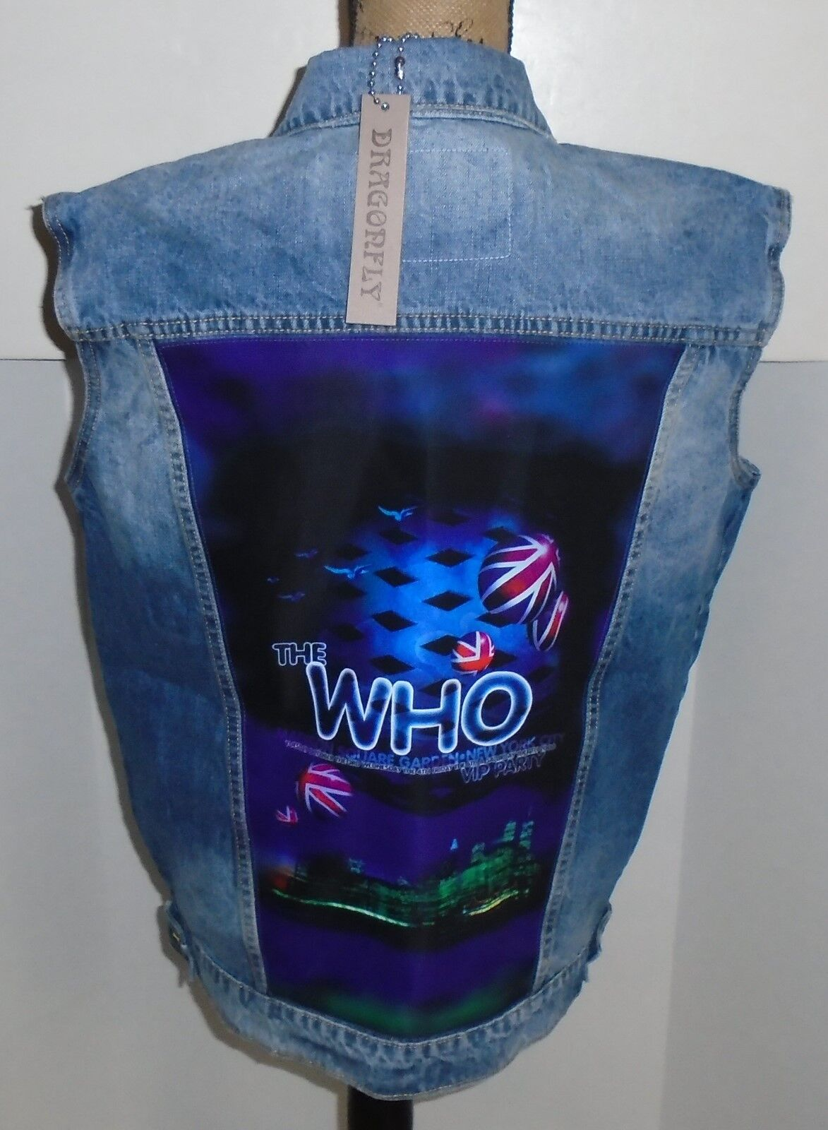 WOLFGANG'S DESIGNS BY DRAGONFLY DENIM VEST THE WHO  Herren XLARGE