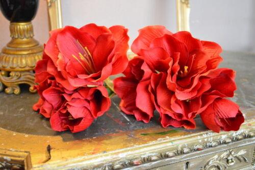 Individuales De Reina Roja Amaryllis De Lujo De Seda Flores Artificiales