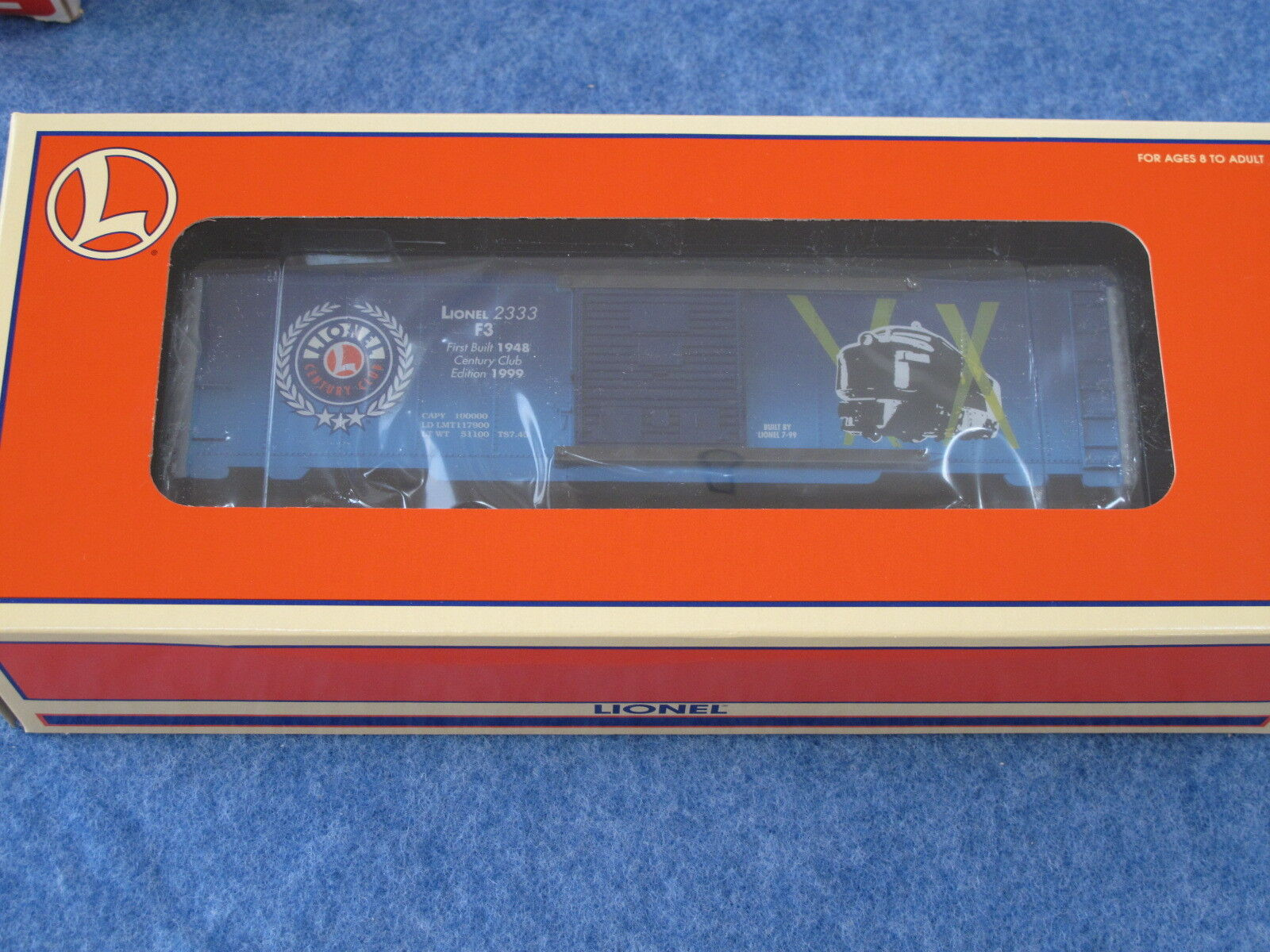 1999 Lionel 6-29248 Century Club NYC 2333 F3 Commemorative Box Car NIB L1538
