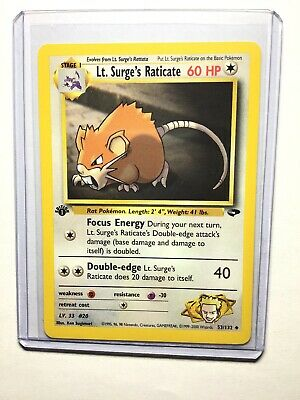Lt 51//132 Surge/'/'s Raticate Uncommon 1st Edition Near Mint Gym Heroes 3DY