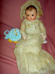 1940-vintage-IDEAL-signed-composition-christening-baby-doll-all-original-XLNT