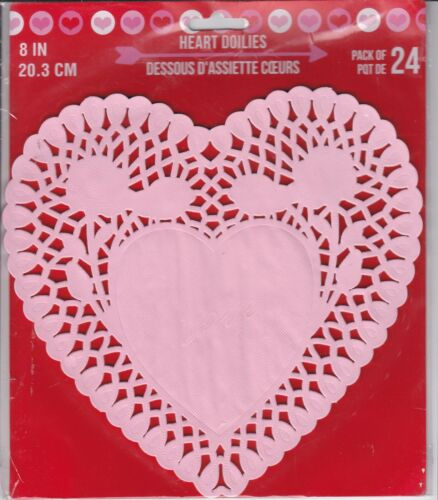 """New Valentine/'s Day Heart Paper DOILIES DECORATIVE CRAFT Party ~ 8/"""" Pink 24 ct"""
