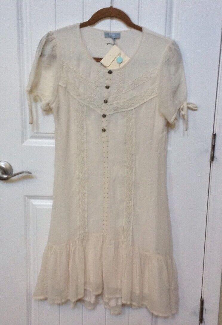 BEIJA damen Ivory Silk Lace Embellished Blouse Dress Sz XS