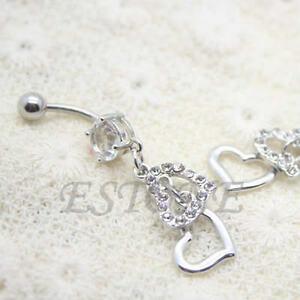 Rhinestone-Heart-Dangle-Body-Piercing-Button-Ball-Belly-Navel-Ring-Barbell