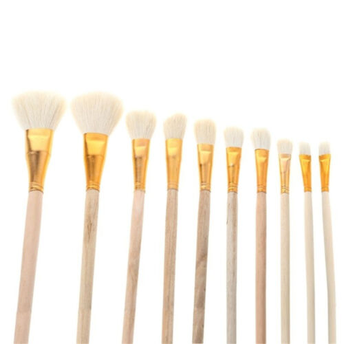 Set 10pcs Bristle Wool Watercolor Painting Paint Brushes Oil Painting Acrylic