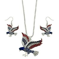 American Eagle Necklace & Earring Set - Sparkling Crystal - Fish Hook -18 Chain